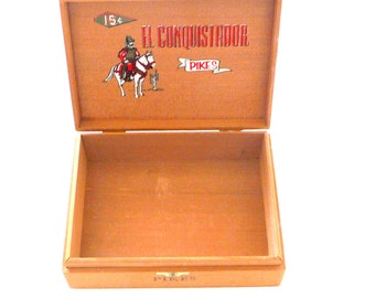 Cigar Box - Cedar - Dovetail Joints - El Conquistador - Pikes - 1950s - Recycled - Trinket Box - Retro - Collectible - Tobacciana - Gift