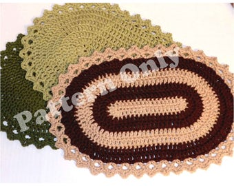 Crochet Pattern - Crochet Beginners Simple Oval Placemat or Table Doily