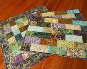Custom Order for Nancy - Quilted Batik Table Topper and Placemat Set