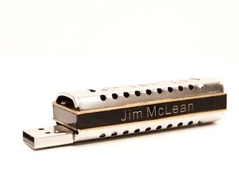 Tiny Harmonica USB drive w video lessons - Personalized - 8GB FlashHarp