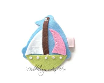 Sailboat Hair Clip, Nautical Hair Clip, Pink and Blue Sailboat Hair Clip, Beach Sailboat Hair Clip, Boat Hair Clip, Felt Hair Clips,