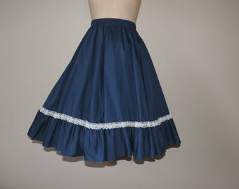navy ruffle swing skirt 70s lace square dance circle dolly country western medium large