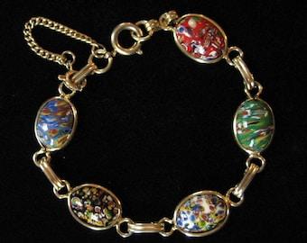 1960's Art Glass Oval Link Bracelet