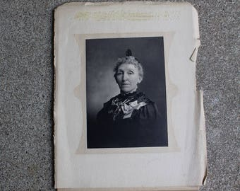 Antique Vintage Photograph Turn of the Century Woman Older Black White Mixed Media Altered Art Supplies Prop