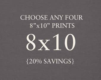 """Collection - You Choose Any Four 8""""x10"""" Photographs. 20% Savings. Affordable Home Decor. Wall Art, Gift Set."""