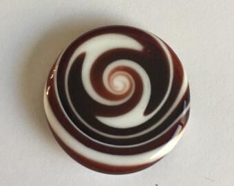 Flat Glass Cabochon - White/Dark Red Swirls Handmade by Greg Hanson