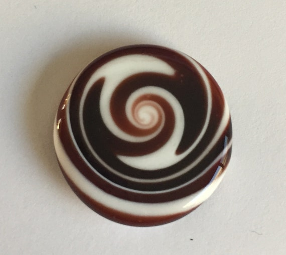 Flat Glass Cabochon - White/Dark Red Swirls Handmade by Greg Hanson