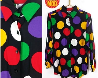 INCREDIBLE Vintage Op Art Polkadot Top with Balloon Sleeves! Red, White, Black, Yellow, Green and Purple Vibrant Colors!