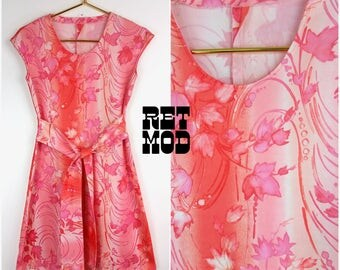 Easy Breezy Vintage 60s 70s Pink Swirly Leaves Polyester Dress!