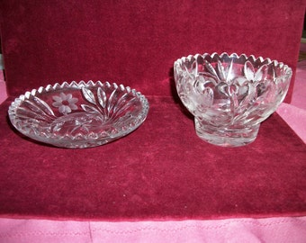 2pc EAPG   American Brilliant Lead  Crystal  bowl+ small plate  w etched  Daisy flowers