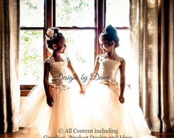 Flower Girl dress. Vintage dress with train. Mini Bride dress with lace overlay! 6m-12 girls. Custom colors available.
