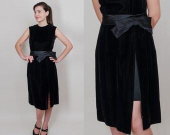 1960s Black Velvet and Satin Dress - 60s Mod Cocktail Party Dress - Vintage Velvet Dress - M