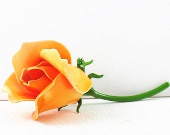 Vintage Orange Enameled Floral Brooch Pin (B-1-1)
