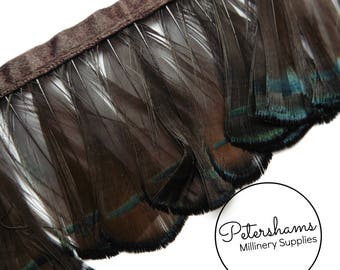 Lady Amhurst Feather Fringe 50cm long piece (around 45 feathers) for Millinery & Crafts - Brown