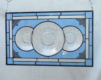 Stained Glass Window Panel, Depression Glass Plate Valance, Antique Stained Glass Transom Window,  Vintage Federal Glass Heritage Pattern