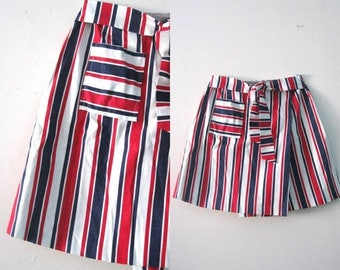 SALE Vintage 60s striped skort / miniskirt Patriotic striped shorts / American Mod red white and blue striped skort
