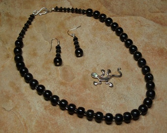 Natural Black Onyx Gemstones, Clear/Black Crystals, 925 Silver Necklace and Earrings