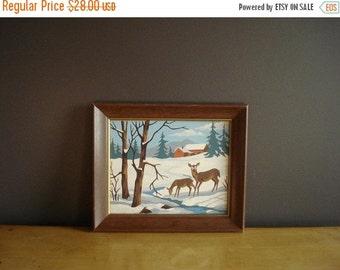 30% off SALE Winter Wonder - Vintage Paint by Number - Vintage Landscape Painting - Snowy Scene with Deer