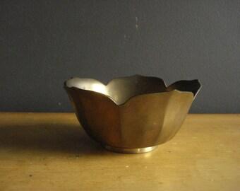 Brass Lotus - Vintage Flower Bowl - Small Brass Petal Bowl