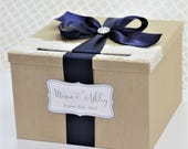Champagne Gold and Navy Blue Wedding Card Box Lace Custom Made