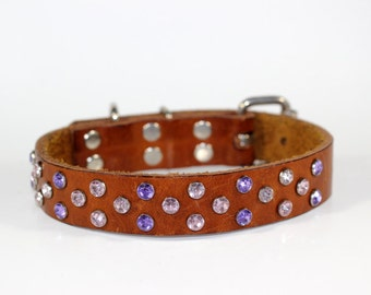 """Leather Dog Collar - 1"""" Pink And Purple  Crystal Leather Dog Collar - Crystal Collar - Leather Dog Collar - Ready To Ship - Fits 12"""" to 16"""""""