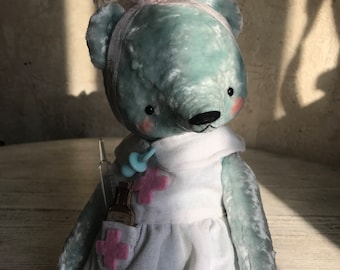 12 inch Artist Handmade Mint Plush Teddy Bear Nurse Sofia by Sasha Pokrass