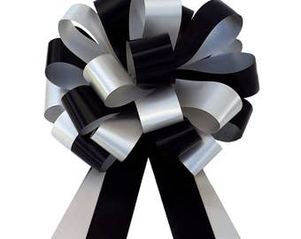 "6 Black Silver 8"" Pew Pull Bows Wedding Chair Ribbon Decorations"
