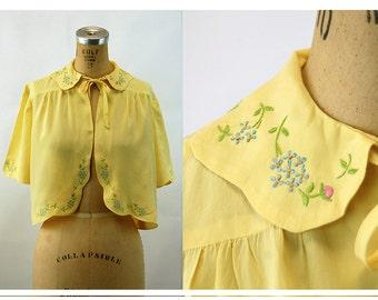 1930s silk bed jacket embroidered jacket 1930s lingerie sweet romantic