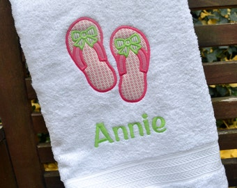 Monogrammed Kids Bath Towel with Flip Flops Applique -  perfect for the beach, bath or pool