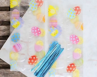 Easter Cellophane Bags & Twist Ties, Easter Candy Bags, Clear Candy Bags, Easter Favor Bags, Candy Buffet Bags, Easter Sweet Bags