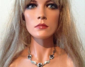 Sterling Silver Necklace.  Rose and Leaf design.  Similar to Danecraft.  Vintage 1950.