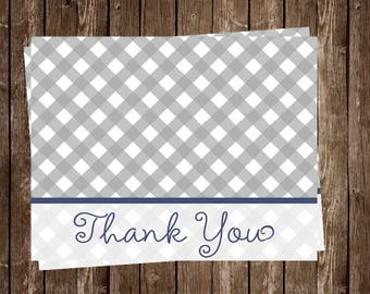 Baby Q, Shower, Thank You Cards, Barbecue, Sprinkle, Boy, Blue, Navy, Gray, Grey, Gingham, Picnic, 24 Folding Notes, Free Shipping, BBQ