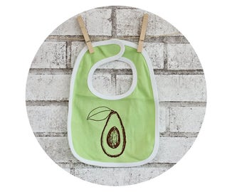 Avocado Baby Gift, Baby Bib, Avocado Fruit, Healthy Food, Fresh Produce, New Baby Gift, Hand Screen-printed, Lime Green, Cotton Clothes