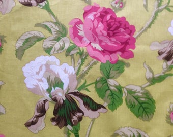 Robyn Pandolph Flirt remnant, OOP, green roses fabric, shabby chic style fabric, large repeat floral, please read
