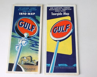 2 Vintage Gulf Road Maps Northeast USA Tour Guide Gas Station Map 1940s 1950