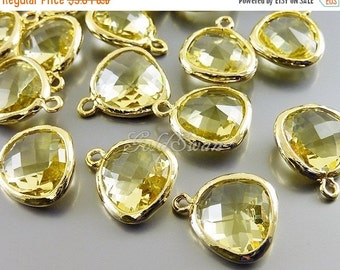 15% SALE 2 lemon yellow unique glass charms for jewelry making, glass stone pendants / charms 5031G-LM