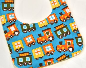 Baby Boy Bib Infant Drool Bib With Colorful Trains Baby Bib Baby Shower or Baby Gift Soft Flannel Backing