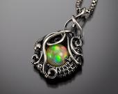 October Birthstone - Ethiopian Opal Jewelry -  Fine Silver Pendant - Opal - Ocean's Breath