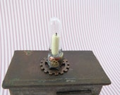 Steampunk candle holder with faux copper gear in 1:12 scale