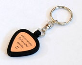 Guitar Pick Holder Keychain with Personalized Metal Guitar Pick in Brass, Bronze, Copper, Aluminum, or Sterling Silver