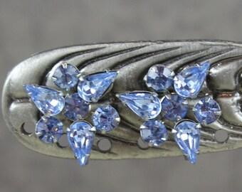 Vintage Baby Blue Rhinestone Flower Silver Screw Back Earrings