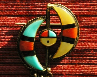 Zuni Sterling Silver Turquoise Multi-Stone Inlay Sunface Dangle Pin