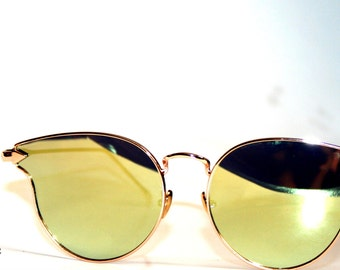 Gold Mirrored Cateye Suglasses