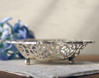 Pierced Silver Bowl - Silverplate Bon Bon Candy Dish