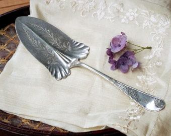Silver Cake Pastry Server 1883 Angelo Saratoga Pattern Holmes and Edwards - Victorian Silverplate Flatware