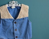 Vintage 1970s Denim and Sherpa Vest by Sears - Size 2T 3T