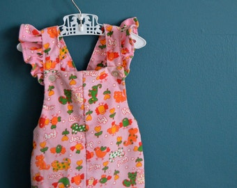 Vintage Pink Animal Print Corduroy Overalls - Size 24 Months