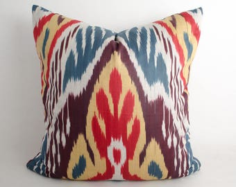 20x20 ikat cushion cover. ikat pillow cover, red, blue. cream, decorative pillow, sofa pillow, throw pillow, ikat design