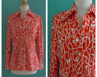 60's red tulip print blouse // red floral print top~ small medium