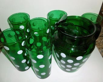 1950's Anchor Hocking Green with Dots Tumblers Pitcher and Glasses